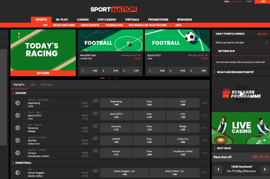 SportNation Bet Sportsbook homepage